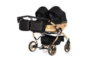 Универсальная коляска для двойни Junama Mirror Satin Duo 03 Gold