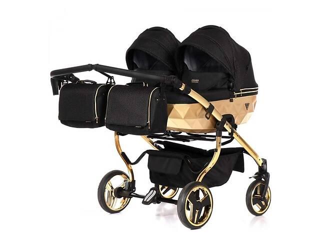 купить бу Универсальная коляска для двойни Junama Mirror Satin Duo 03 Gold в Киеве