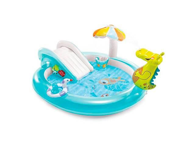 Игровой центр Intex 57165 «Крокодил» детский надувной комплекс с горкой и фонтаном, для улицы, бассейн 180 л
