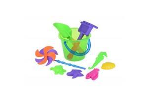 Игрушка для песка Same Toy с Воздушной вертушкой (зеленое ведро) 9 шт (HY-1206WUt-1)