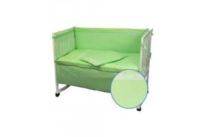 Защитное ограждение для кроватки Руно Салатовый с кружевом 60х120 см (922КУ_Салатовий)
