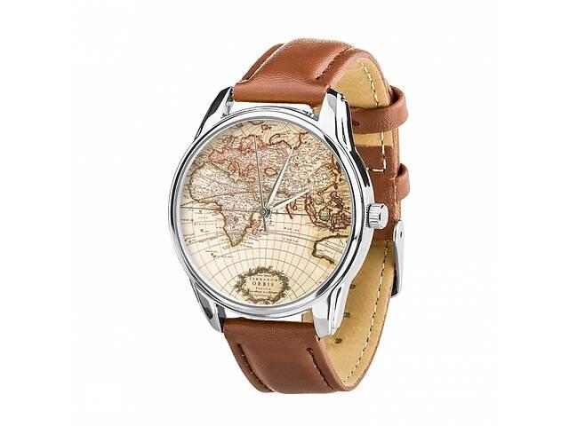 продам Часы Ziz Карта, ремешок кофейно-шоколадный, серебро и дополнительный ремешок SKL22-142617 бу в Харькове