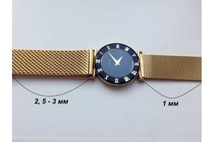 Миланский браслет ремешок для часов золотой/желтый (на женские часы)