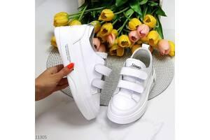 Білі шкіряні жіночі кросівки кеди на липучках, шкіряні кеди Mary, кеди білі 36-41р код 11305