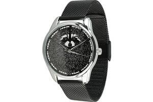 """Часы """"Енот"""" (ремешок из нержавеющей стали черный) + дополнительный ремешок (5012289)"""