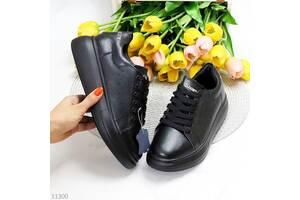 Черные кожаные кеды, базовые кеды, кожаные кроссовки, кеды Raya, черные кожаные кеды 36-41р код 11300