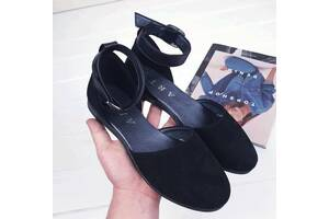 Черные натуральные балетки, женские кожаные балетки 36-39р