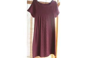 Демисезонная вязаная фиолетовая туника платье, 10 12, реглан, торг