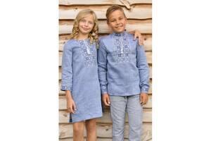 Дитячий комплект - вишиванка для хлопчика і вишита сукня для дівчинки з тонкого льону
