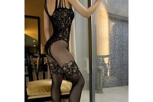 Эротическое белье боди с имитацией чулков