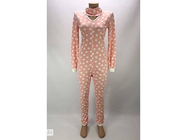 купить бу Комбинезон пижама Кигуруми женский на молнии 56 р. в горох Розовый (zolk_G-9593-56) в Киеве