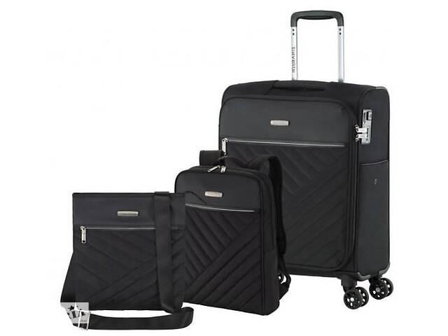 купить бу Комплект чемодан сумка рюкзак Travelite Jade S 4 колеса, черный в Киеве