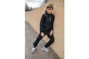 Костюм для мальчиков куртка и штаны черный демисезонный Softshell Easy SKL59-291143