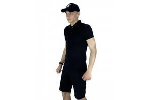 Костюм летний черный Мужская футболка поло Мужские шорты трикотажные и Кепка SKL59-259649
