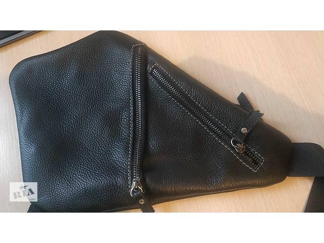 Кожаная мужская сумка треугольной формы- объявление о продаже  в Житомире