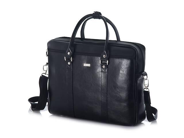 бу Кожаная сумка для ноутбука через плечо черная SlrSL03Black в Киеве