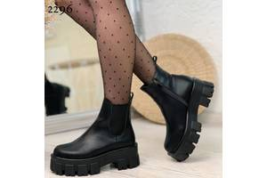Кожаные демисезонные ботинки на платформе, кожаные ботинки платформа, ботинки кожа 36-40р код 2296