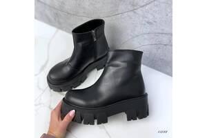 Кожаные демисезонные ботинки, женские кожаные ботинки на платформе, ботинки кожаные 36-40р код 13722