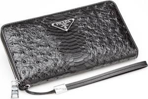 Кожаный кошелек-клатч Pradа Wallet4-2685 черный Реплика
