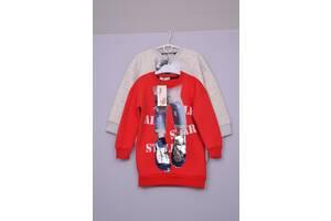 Л-69 Свитшот, худи,  свитер  для девочки  размер 110 116 122 128 красный,серый