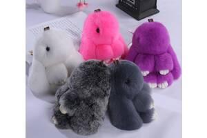 Меховой кролик брелок на сумку рюкзак, мягкая игрушка заяц