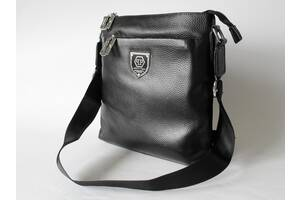Мужская кожаная сумка-мессенджер Philipp Plein черная