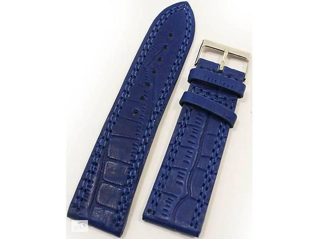 Мужской кожаный практичный ремешок для часов под кожу крокодила Mykhail Ikhtyar 8023 синий