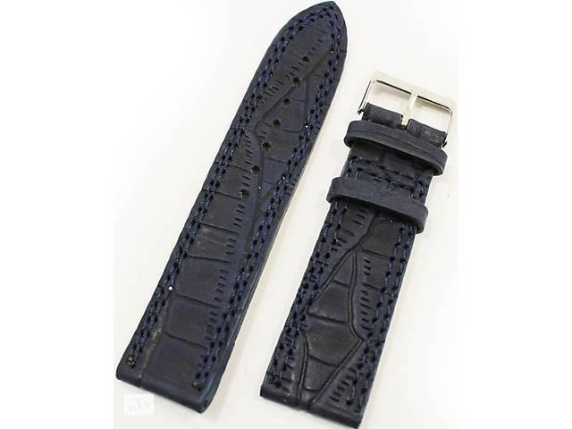 продам Мужской кожаный солидный ремешок для часов под кожу крокодила Mykhail Ikhtyar 8024 темно-синий бу в Киеве