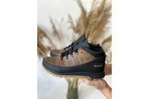 Мужские кроссовки кожаные зимние черные-оливковые Anser 101