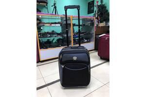 Мини чемодан для ручной клади, на два колеса с подшипниками, черный\серый