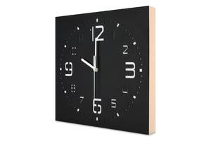 Настенные часы ручной работы Kauza - 3D цифры с деревянным бортом бесшумный механизм Черные (kau_0002)