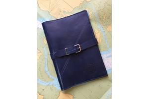 Папка для морских документов, синяя, натуральная кожа.