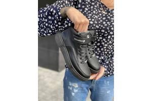 Подростковые ботинки кожаные зимние черные Monster BAS