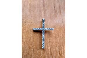 Срібний хрестик з камінням, 3 грами