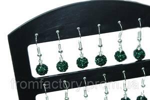 Сережки со стразами Шамбала (2шт/Ø7мм/Темно-Зеленый)