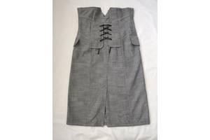 Серый офисный костюм б/у юбка и болеро распродажа гардероба