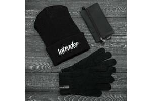 Шапка черная зимняя big logo и перчатки черные зимний комплект и Подарок SKL59-283393