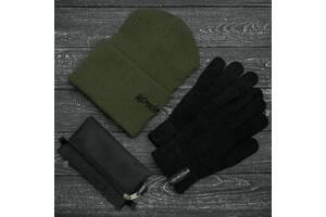 Шапка хаки зимняя small logo и перчатки черные зимний комплект и Подарок SKL59-283391