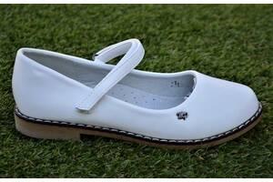 Школьные детские туфли для девочки белые р32-36
