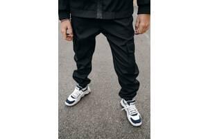 Штаны спортивные для мальчиков черные демисезонные Softshell Easy SKL59-291141
