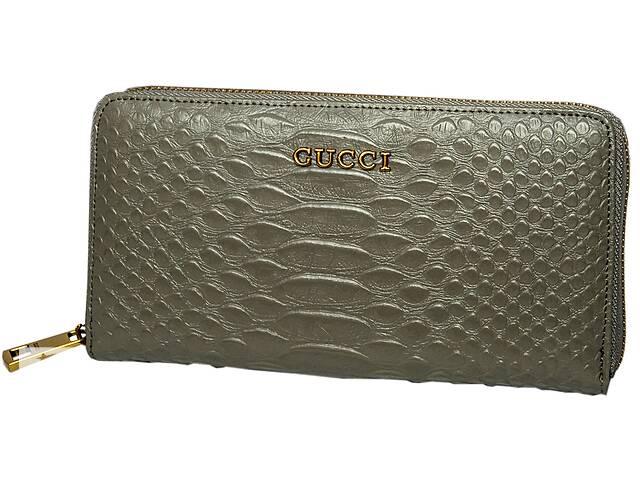 купить бу Шикарный Кожаный кошелек Leither Purse Gucci, серый Реплика в Киеве