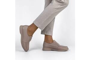 Стильні шкіряні бежеві жіночі лофери, туфлі-лофери 39,40р код 11496