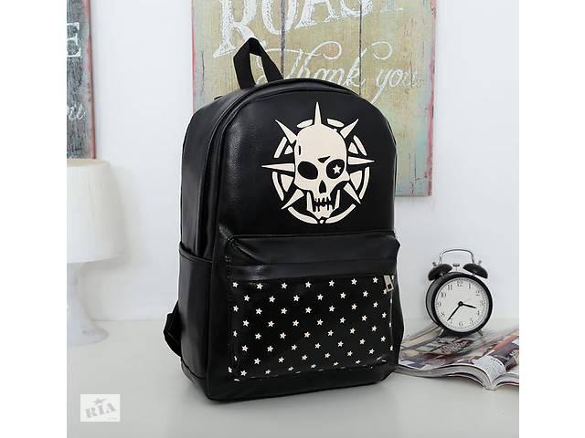 Стильный черный рюкзак с принтом Череп- объявление о продаже  в Хмельницком