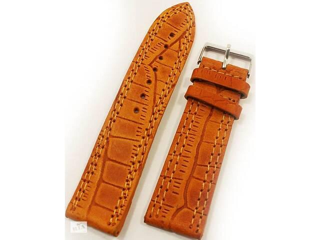 Стильный кожаный мужской ремешок для часов под кожу крокодила Mykhail Ikhtyar 8022 оранжевый