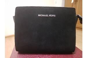 Сумочка женская Michael Kors Selma mini черная замша еко-кожа сафянова кожа сумка