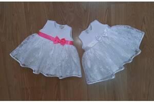 Праздничная белое платье с гипюром для самых маленьких, модель № 101