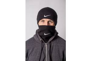 Теплая зимняя шапка с баффом Nike