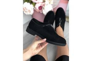 ТОЛЬКО 36р. Черные замшевые туфли на низком ходу 36р-24 см