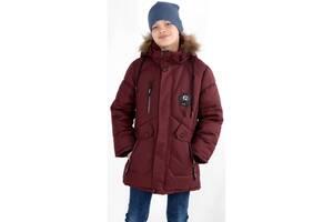 Подовжена Зимова куртка пальто на хлопчика 7,8,9,10 років Мембрана