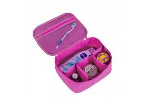 Вместительная дорожная косметичка со съемными перегородками Organize розовая K016-pink SKL34-222109